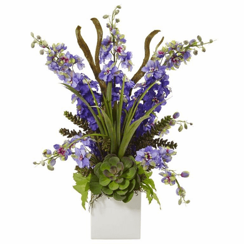 "23"" Silk Delphinium and Artificial Succulent Arrangement - Purple"