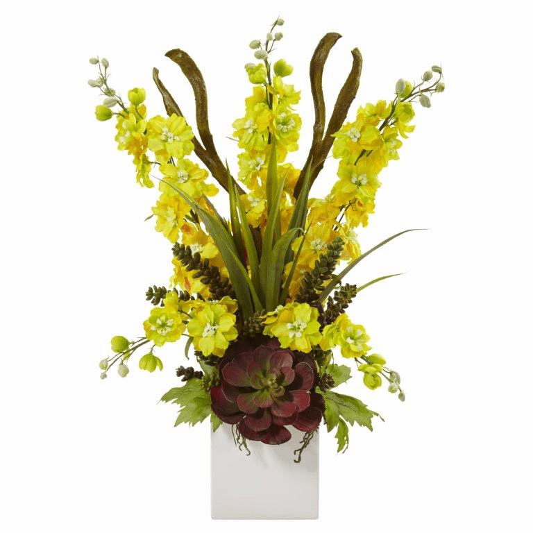 "23"" Silk Delphinium and Artificial Succulent Arrangement - Yellow"