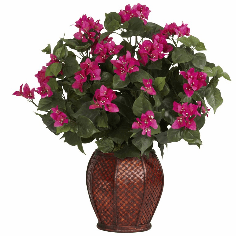 "24.5"" Artificial Bougainvillea Silk Flower Arrangement with Vase Silk Plant"