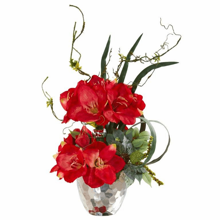 24� Amaryllis and Mixed Greens Artificial Arrangement in Silver Bowl - Red