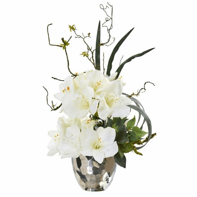 24� Amaryllis and Mixed Greens Artificial Arrangement in Silver Bowl - White