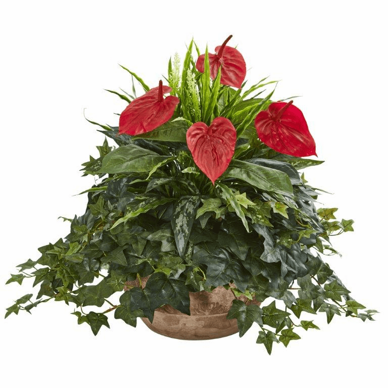 "24"" Anthurium Artificial Plant in Terracota Planter"