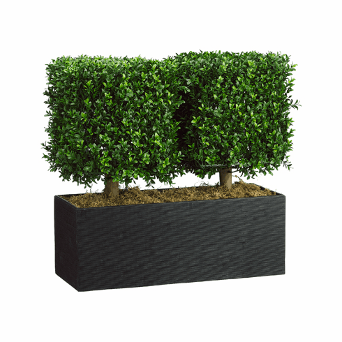 "24"" Artificial Boxwood Topiary Plant in Rectangular Bamboo Container"