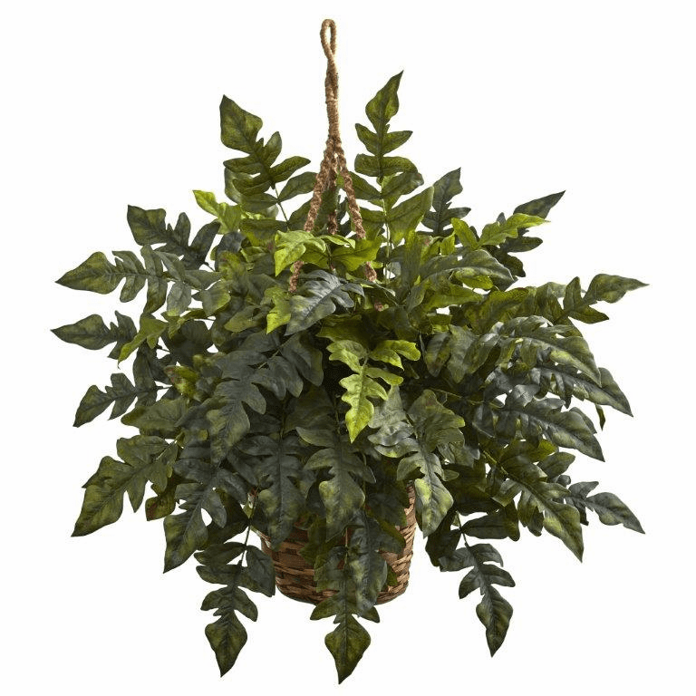 "24"" Artificial Holly fern Hanging Bush in Basket"
