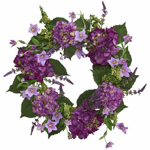 "24"" Artificial  Hydrangea Flower Wreath Arrangement"