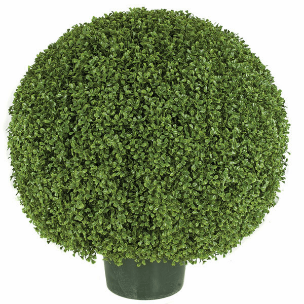 "24"" Artificial Limited UV Protection Outdoor Boxwood Topiary Ball"