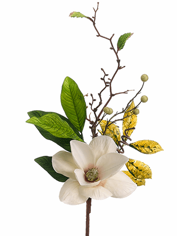 "24"" Artificial Magnolia Flower Pick - Set of 12"