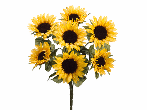 """24"""" Artificial Sunflower Bush with 7 Flowers - Set of 12"""