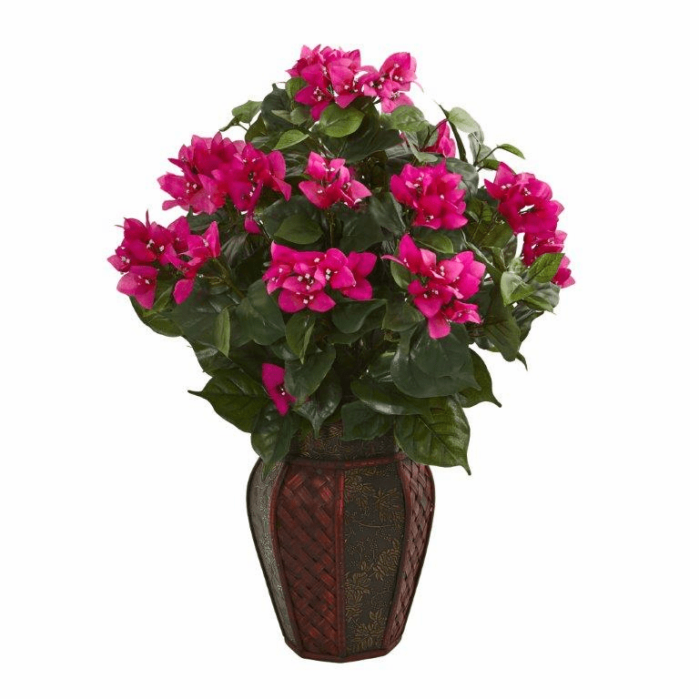 "24"" Bougainvillea Artificial Plant in Decorative Planter"