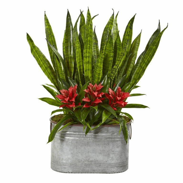 24� Bromeliad and Sansevieria Artificial Plant in Metal Planter - Red