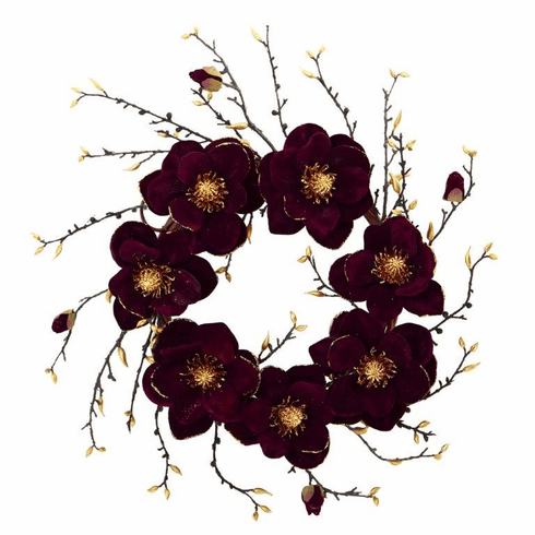"24"" Burgundy and Gold Magnolia Artificial Wreath"