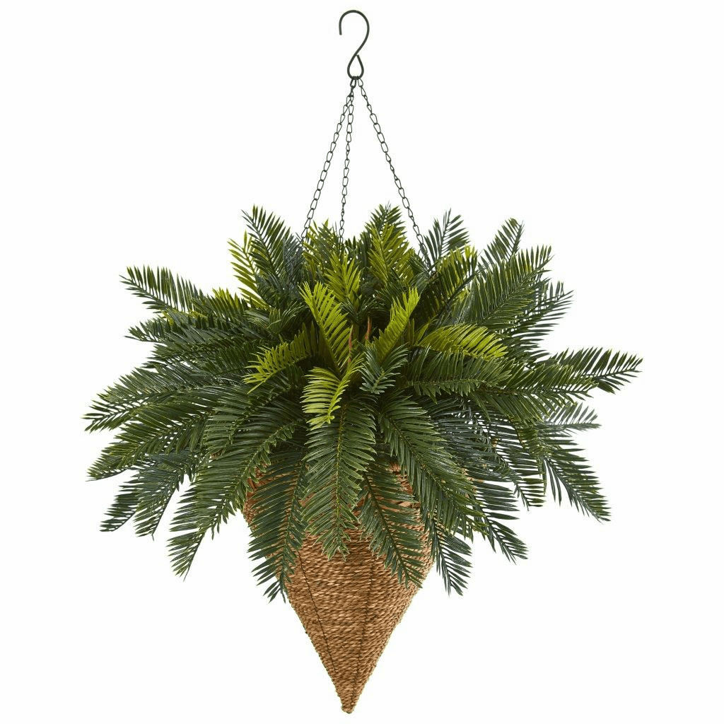 "24"" Cycas Hanging Basket Artificial Plant"
