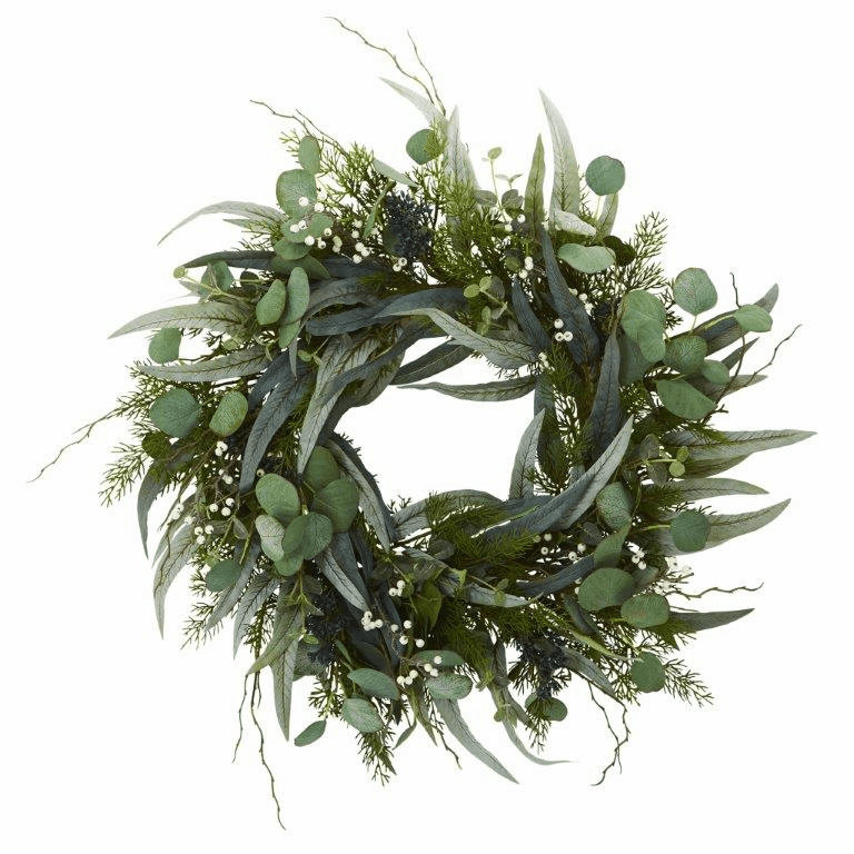 24� Eucalyptus and Mixed Greens Artificial Wreath