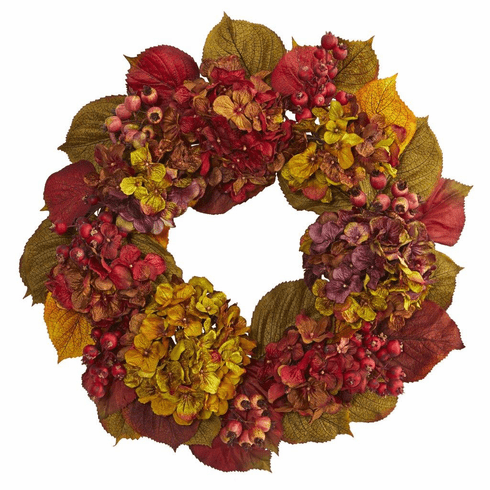"24"" Fall Hydrangea Flower Wreath"