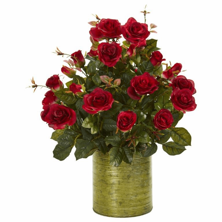 "24"" Garden Rose Artificial Arrangement in Metal Planter - Red"