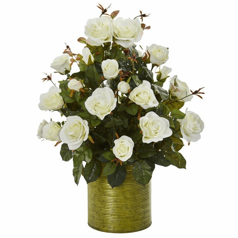 "24"" Garden Rose Artificial Arrangement in Metal Planter - White"