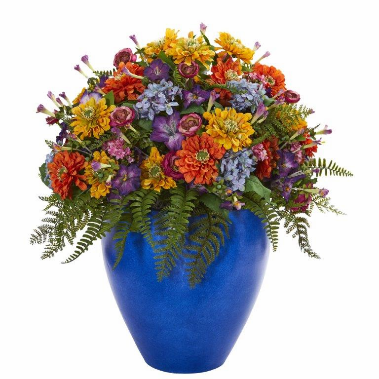 "24"" Giant Mixed Floral Artificial Arrangement in Blue Vase - Mixed Spring"