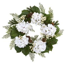 """24"""" Gold Trimmed Hydrangea Artificial Flower and Berry Wreath"""