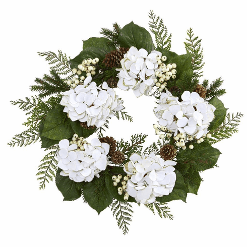 "24"" Gold Trimmed Hydrangea Artificial Flower and Berry Wreath"