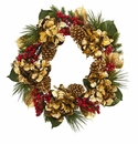 24� Golden Hydrangea with Berries and Pine Artificial Wreath