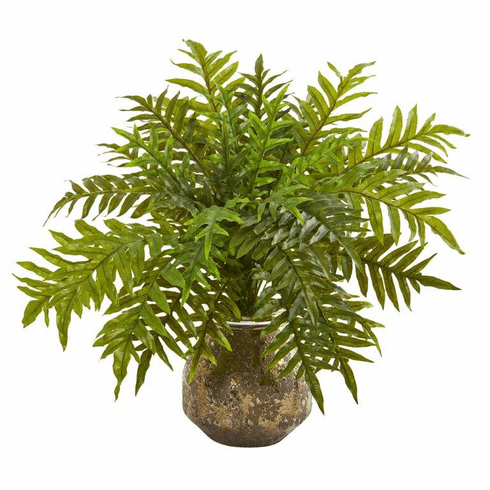 "24"" Hares Foot Fern Artificial Plant in Vase (Real Touch)"