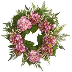 "24"" Hydrangea Berry Artificial Wreath"