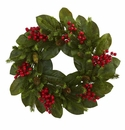 24� Magnolia Leaf, Berry and Pine Artificial Wreath