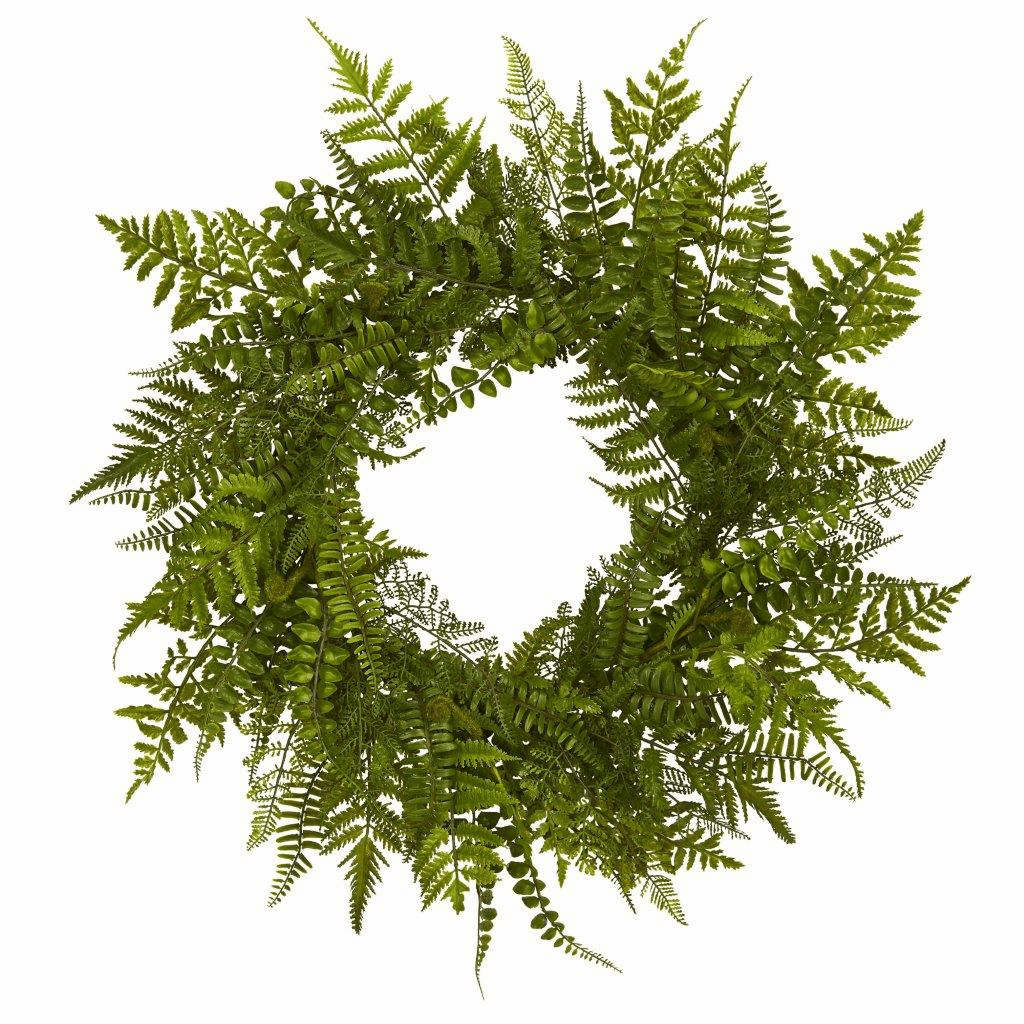 24� Mixed Artificial Fern Wreath
