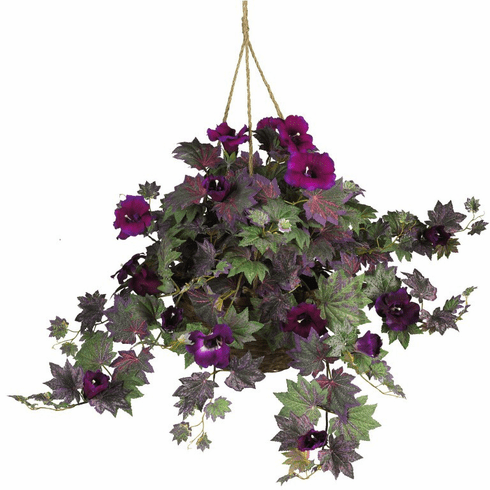 "24"" Morning Glory Hanging Basket Silk Plant"