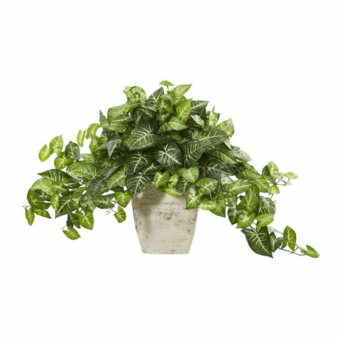 "24"" Nepthytis Artificial Plant in Country White Planter"