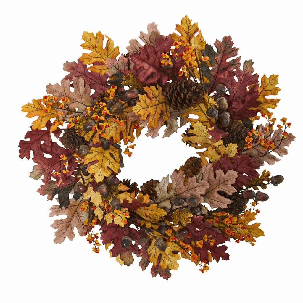 24� Oak Leaf, Acorn & Pine Artificial Wreath