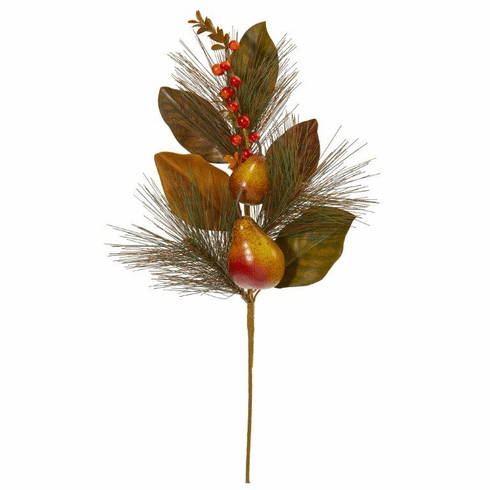 """24"""" Pear, Pine and Magnolia Leaf Artificial Flower (Set of 6)"""