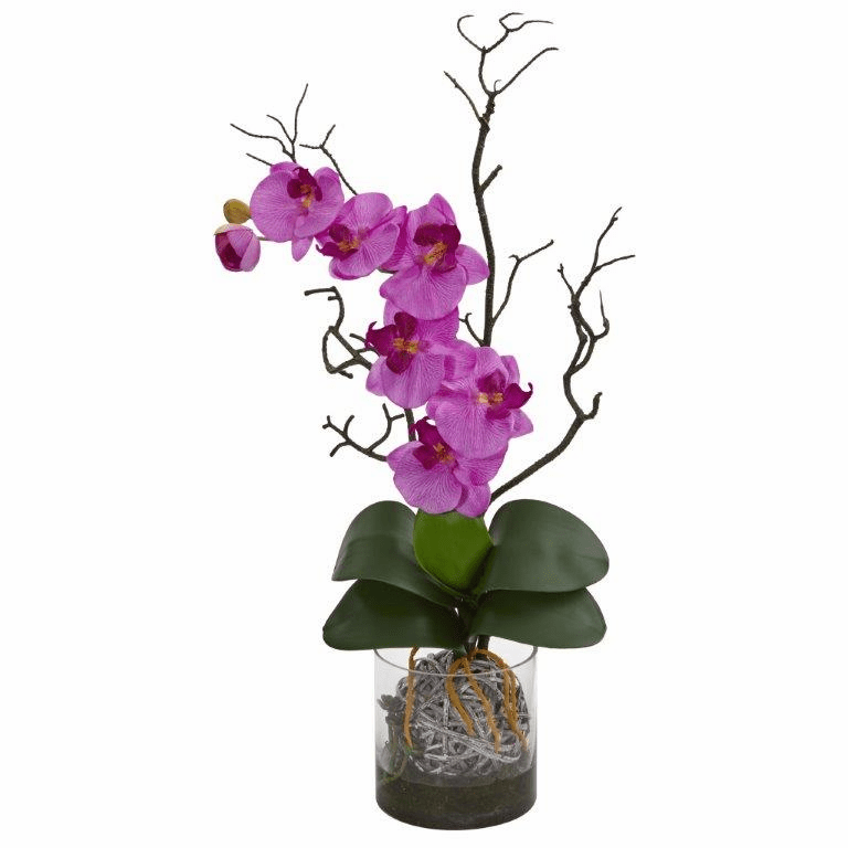 "24"" Phalaenopsis Orchid Artificial Arrangement in Vase - Mauve"