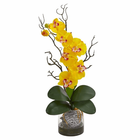 "24"" Phalaenopsis Orchid Artificial Arrangement in Vase - Yellow"