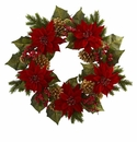 24� Poinsettia, Berry and Golden Pine Cone Artificial Wreath