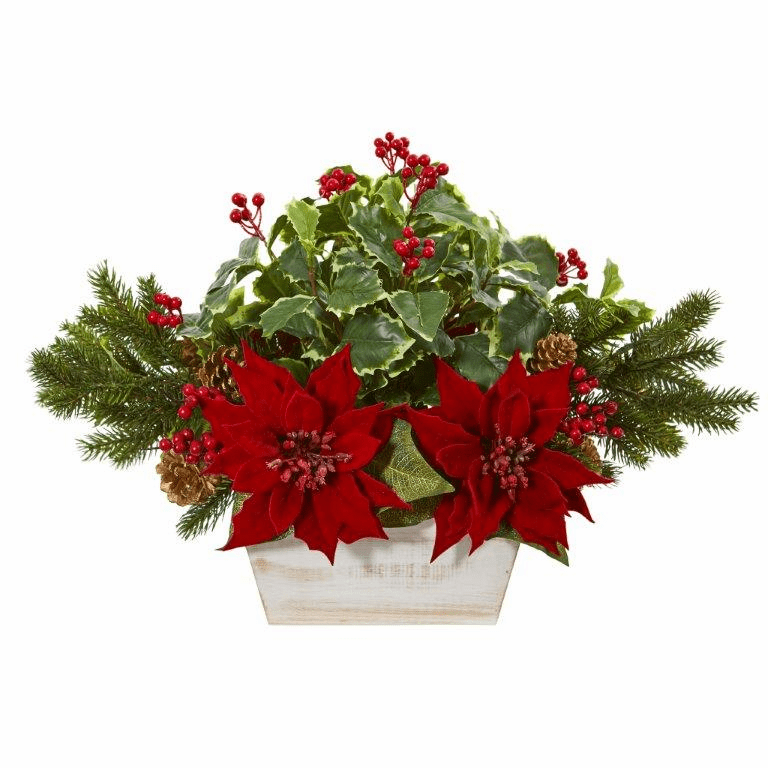 24� Poinsettia, Holly, Berry and Pine Artificial Arrangement in Planter -