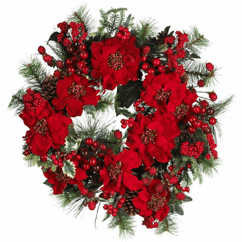 "24"" Poinsettia & Pine Wreath"