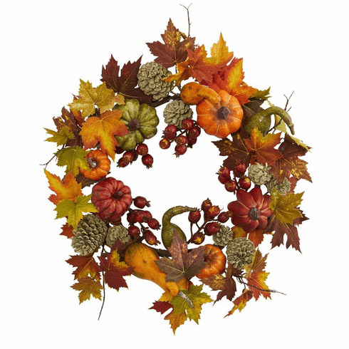 "24"" Pumpkin, Gourd, Berry and Maple Leaf Wreath - Fall"