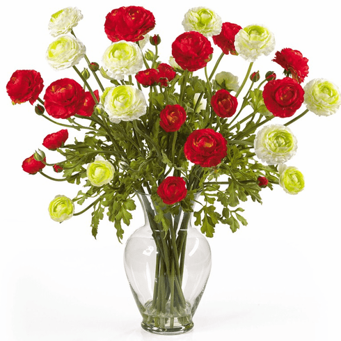 "24"" Ranunculus Liquid Illusion Silk Flower Arrangement - Red/White"