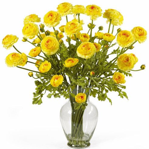 "24"" Ranunculus Liquid Illusion Silk Flower Arrangement - Yellow"