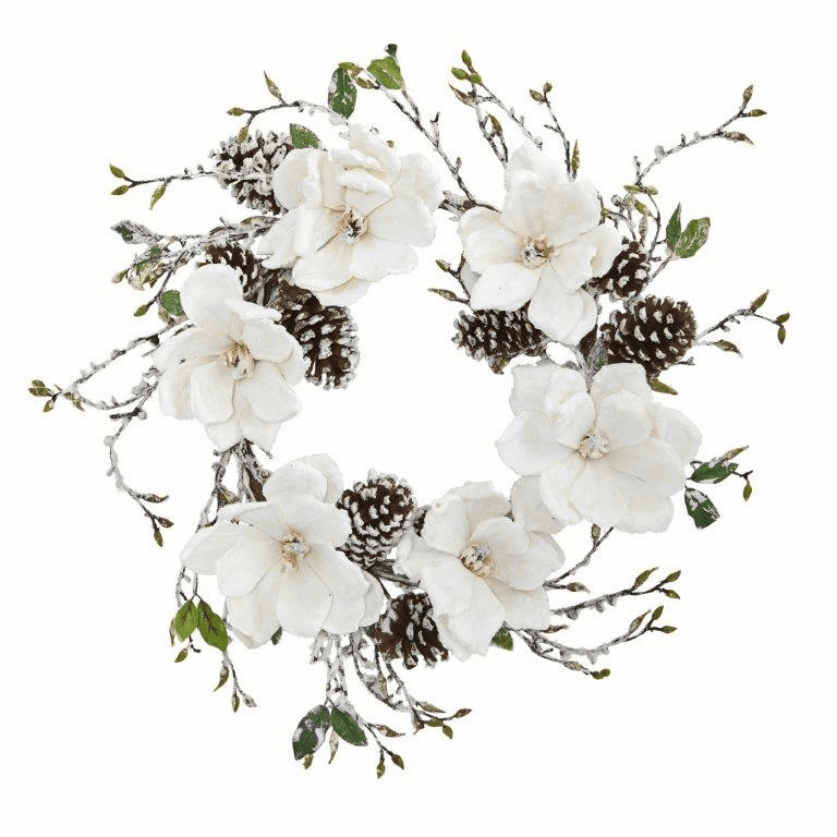 24� Snowed Magnolia / Pine Cone Wreath -