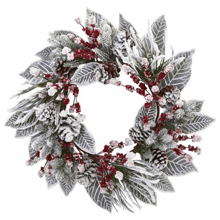 24� Snowy Magnolia Berry Artificial Wreath
