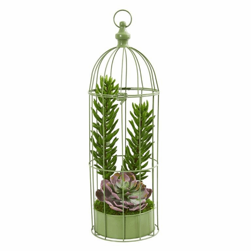 "24"" Succulent Garden Artificial Plant in Decorative Cage"