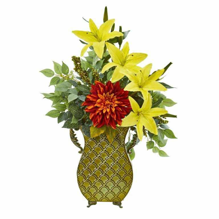 25� Dahlia, Lily and Ficus Artificial Plant in Metal Planter