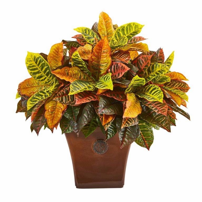 25� Garden Croton Artificial Plant in Brown Planter (Real Touch)