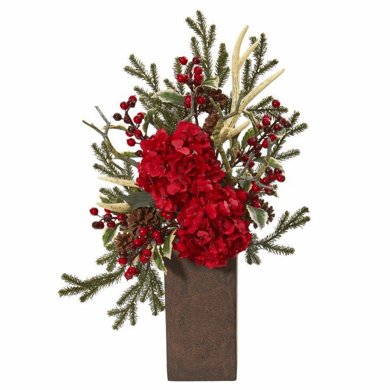 25� Hydrangea and Holly Berry Artificial Arrangement  -