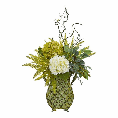 """25"""" Hydrangea, Ficus, and Fern Artificial Plant in Metal Planter"""