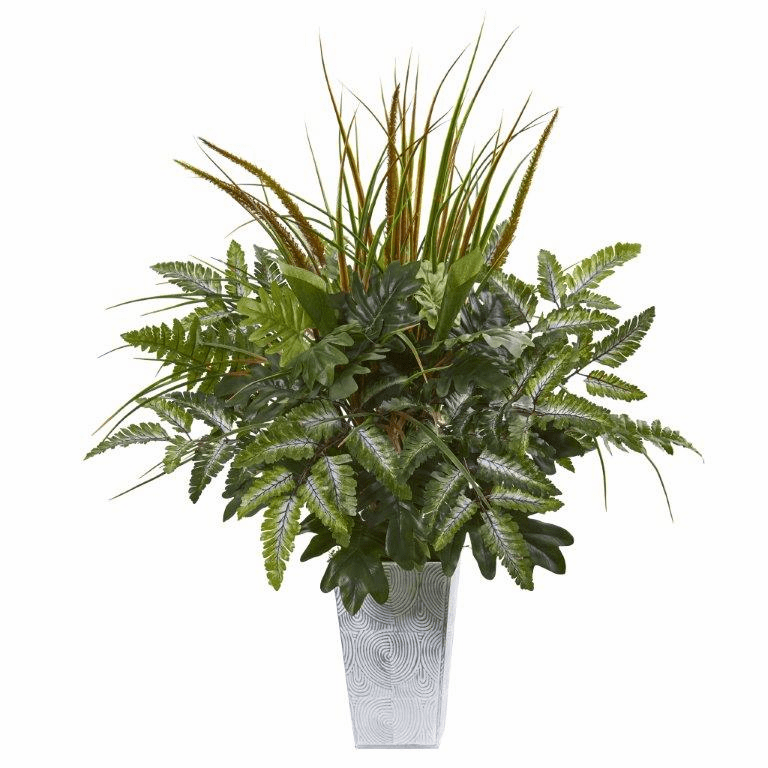 25� Mix Greens Artificial Plant in Planter