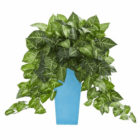 25'' Nephtytis Artificial Plant in Turquoise Planter