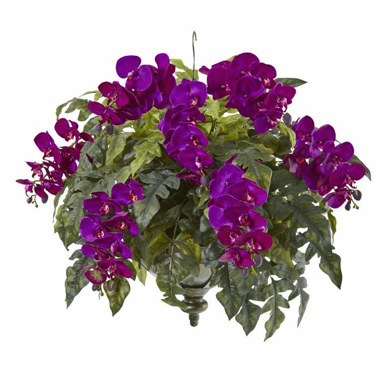 25� Phalaenopsis Orchid and Holly Fern Artificial Plant in Metal Hanging Bowl - Purple